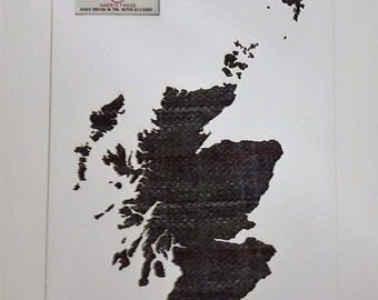 Scotland Map In Harris Tweed Picture Unique Scottish Gifts