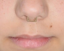 Gold SEPTUM RING / helix piercing, tragus earring, septum 16g, nose ring, cartilage earring hoop, daith piercing
