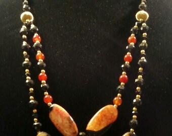 Beautiful Orange & Black Stone Necklace