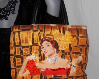 Old Hollywood Pinup Glamour Retro Multi Color Rhinestone/Sequin Cross-Body Handbag Purse