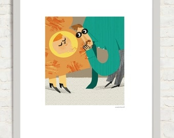 Baby in sight! Illustration of the book a good habit. Editorial bamboo 2013. Digital Giclee print.