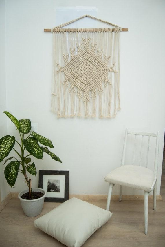 macrame wall hanging macrame curtain bohemian decor the. Black Bedroom Furniture Sets. Home Design Ideas