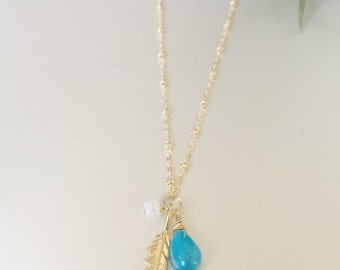 Gold Feather/ Turquoise/ Moonstone Long Necklace