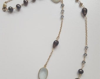 """Blues and grays and pearls in 14K gold fill - 15"""" necklace"""
