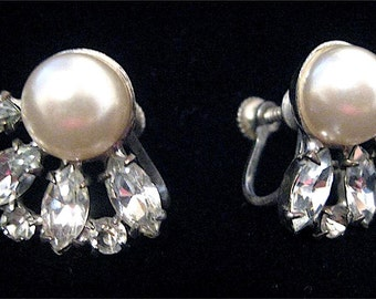 Vintage Navette Rhinestone & Faux Pearl Sterling Silver .925 Screw Back Earrings Signed AVON STER Avon of Belleville Screwback Claw Set