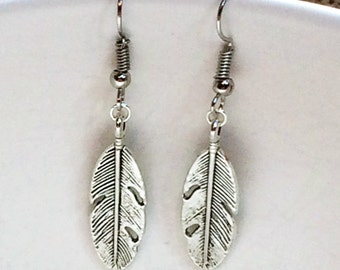 Silver Feather Earrings, silver earrings, feather earrings boho earrings, feather dangle earrings, gifts for her accessories, handmade