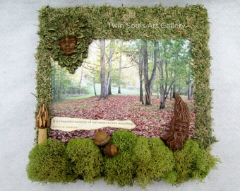 Mixed Media,Nature Painting, Nature Canvas,Greenwoman,Green Woman, Greenman,Green Man,Nature Scene,Pagan Painting, Wiccan Painting