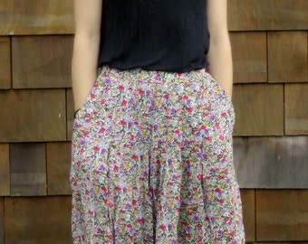 Small Vintage Tea-length Floral Skirt