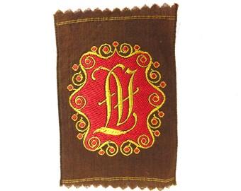 Monogram LV Applique  1930s Vintage Embroidered 'Initials LV' applique. Alphabet Patch, Monogram application, antique letter. #643GBEK1B