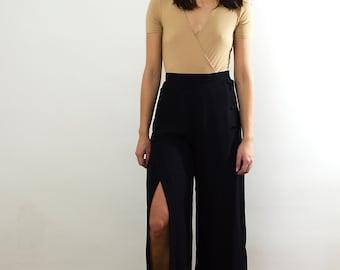 Black Slit Leg Pants/ Black Slit Leg Trousers/ Black Wide Leg Trousers