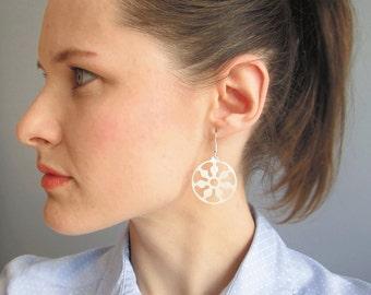 Silver mandala earrings, round earrings, flower earrings