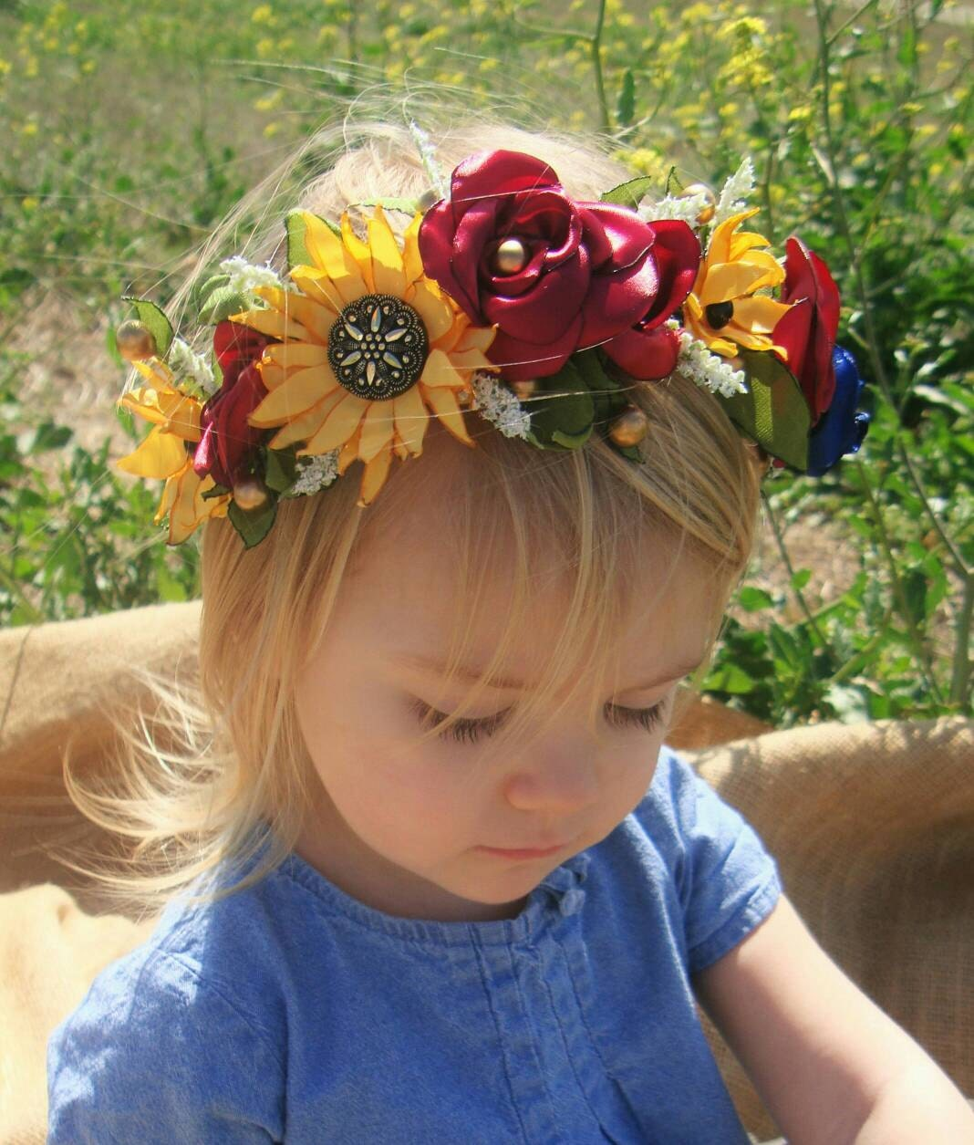 Spring Girls Red Roses And Sunflower Flower Crown Head Wreath