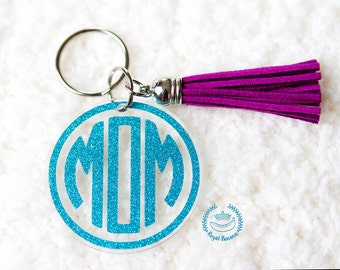 MOM Monogram Keychain - Perfect for New Moms!