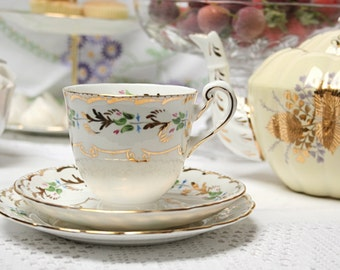 Beautiful hand painted vintage tea cup, saucer and tea plate. with  rich gold  detailing, pretty tea set to collect and use