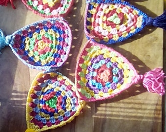 Handmade Crochet Granny Bunting Folksy Bright Colours Tassels one of a Kind