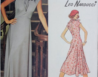 70s Vogue Evening Dress & Scarf Pattern by Leo Narducci for Vogue American Designer - Size 14