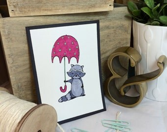 Reginald Raccoon -- Nursery Decor -- 5x7 Print