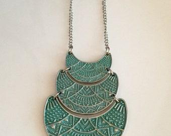 Bronze Necklace, Bronze Green Pendant Necklace, Geometric Necklace, Patina necklace