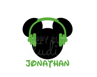 Personalized Headphones Cool Headphones DJ Mickey Mouse Matching Kids Brother Sister Family Disney Iron On Decal Vinyl for Shirt 123 Active