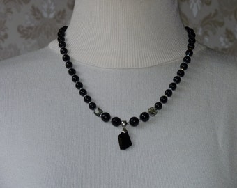 Swarovski pearl necklace, handmade, black pearls, Swarovski pendant