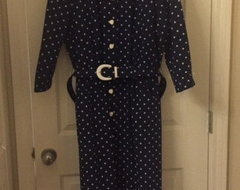 Dress navy and white polka dots