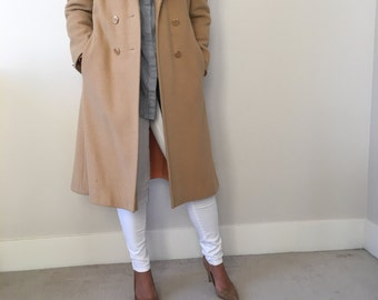 Glamerous Vintage Camel Wool Coat with Fur Collar S/XS