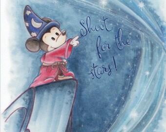 Fantasia art print - Sorcerer Mickey Mouse print , disney, fantasmic