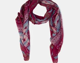 Aztec Printed Viscose scarf, Tribal Print Scarf, Fuchsia scarf, Summer scarf, Dark Pink Scarf, Gift scarf, scarf on sale,