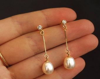 white pearl earrings, Gold Pearl Earrings, 14k pearl Earrings, gold jewelry, pearl jewelry, pearl dangle Earrings, gift for her,dangle pearl