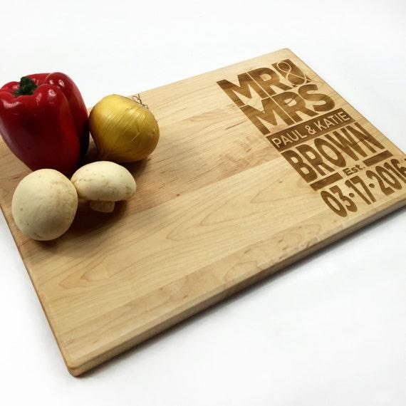 Wedding Date Gift: Cutting Board Personalized Wedding Gift Modern Wedding Date