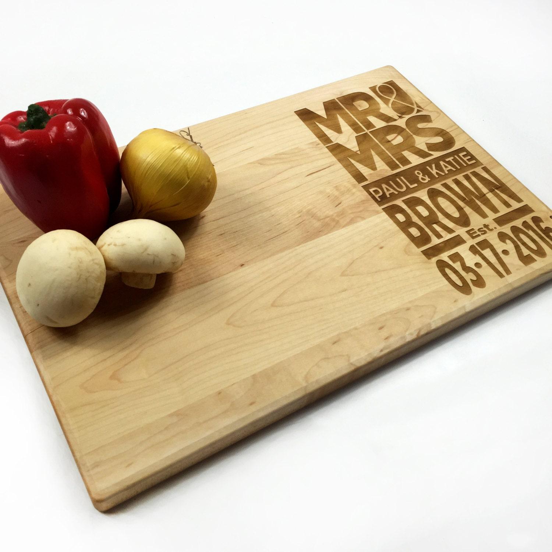 Contemporary Wedding Gifts: Cutting Board Personalized Wedding Gift Modern Wedding Date