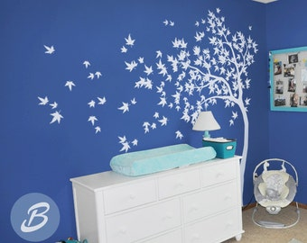 White tree decal Large nursery tree decal with birds Removable wall decal Nature wall decal Wall decor Wall mural sticker Wall tattoo -AM023