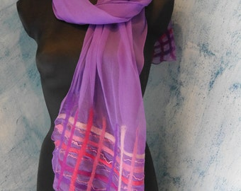 Silk scarf with Nuno felt, purple with pink/red