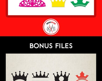Crown SVG DXF/ Crown design for Vinyl Cutter, Silhouette, Cuttable Crown designs, Tiara svg, Crown monogram svg, Files for Cricut, SVG files