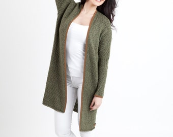 Knitted cardigan / Oversized cardigan / Wool sweater / Knitted wrap / Yak wool cardigan / Green cardigan / Long cardigan / Wool cardigan