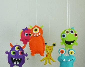 Monster Mobile, mobile, baby cradle, baby crib, Crib Mobile, nursery decor, baby shower gift