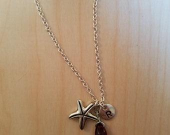 Birthstone January Siam necklace starfish Siam January birthstone Siam starfish birthstone starfish necklace Siam birthstone necklace charm