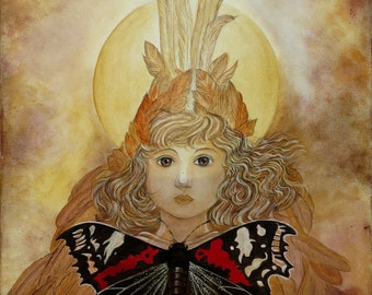 Fairy girl with butterfly, original painting in warm autumn colors, Brown, beige, Bordeaux and ochre