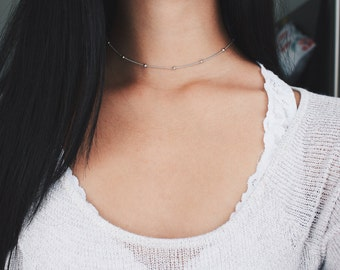 silver rain drop beaded choker necklace - satellite chain, minimal, delicate, dainty