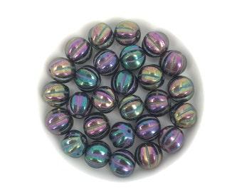 20pc 8mm Czech Glass Melon Purple Iris, 3859A