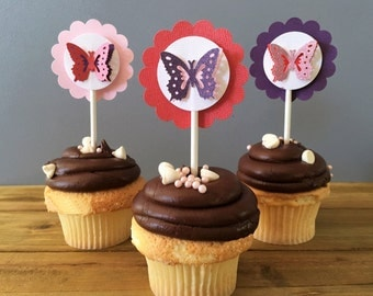 12 Beautiful Butterfly Cupcake Toppers, Butterfly Cake Topper, Butterfly Baby Shower, Butterfly decoration, butterfly birthday party