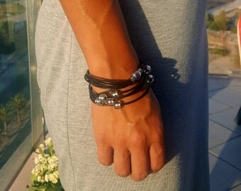 Black leather bracelet  Boho chic double wrap bracelet Bright shiny Ibiza style wrap