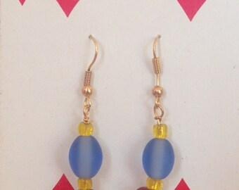 Primary Colors Earrings, Blue Earrings, Red Earrings, Yellow Earrings, Frosted Bead Earrings, Glass Bead Earrings