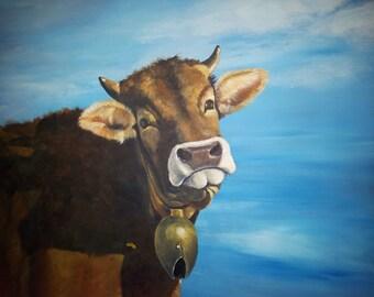 Allgäu Braunvieh cow head 100 x 120 cm acrylic