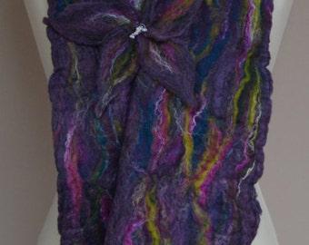 Purple felt scarf. Purple merino wool scarf. Purple winter scarf. Purple wool scarf.