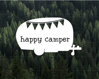 Happy Camper Vinyl Decal | MacBook Decal | Car Decal | Laptop Decal | Water Bottle Decal | Yeti Decal | iPhone Decal | Camping | RV