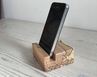 Smartphone stand, wooden, holder, Scottish spalted beech, wood, unique, handmade, natural, iphone, samsung