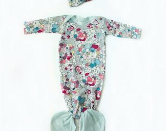 Pop Art Floral Mermaid Baby Gown & Headband