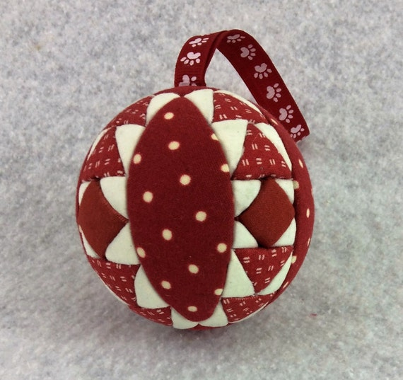 136 Geese Rising - Red and White Christmas ornament from a quilt pattern