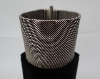 Vintage Oxidized Silver Broad Bracelet